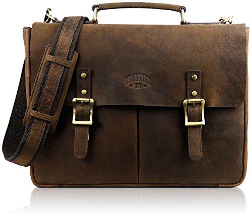 "KLONDIKE 1896 Klondike 1986 Mochila de piel auténtica""Barry"", bolso de cuero de alta calidad estilo vintage, marrón"