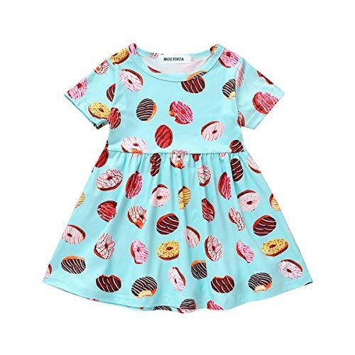 MOLYHUA Donut Dress, Toddler Girls Doughnut Print One-Piece Skirt Sleeveless Dress Pink (80(18M), Blue) ()