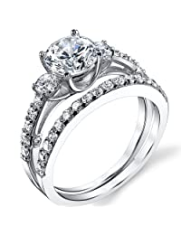 """Metal Masters Co.® Sterling Silver """" Past, Present, Future"""" Engagement Ring Wedding Band Bridal Set W/ Cubic Zirconia"""