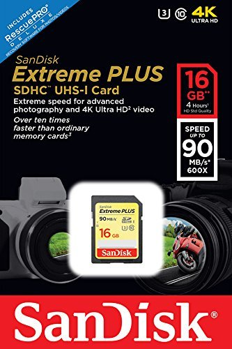 Sandisk extreme plus sdhc uhs-i/u3 16gb memory card up to 90mb/s read (sdsdxsf-016g-gncin) 2 highest sd card video recording performance with both class 10 and uhs speed class 3 (u3) ratings for capturing full hd and 4k ultra hd (3840x2160p) for video up to 60mb/s write speeds for faster shot-to-shot performance and up to 90mb/s for faster transfer built for and tested in harsh conditions; temperature proof, water proof, shock proof, and x-ray proof
