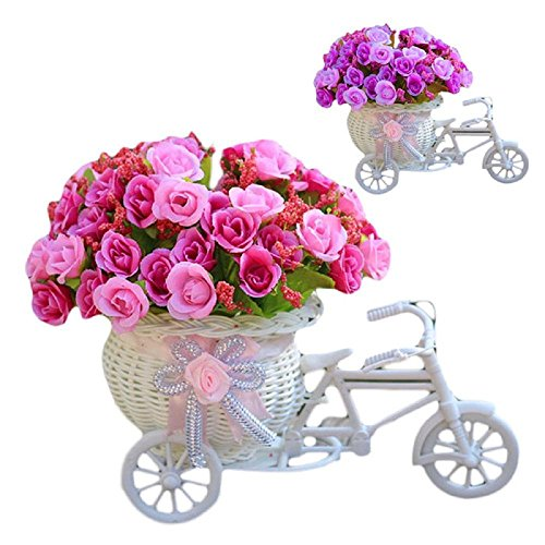 Elevin(TM) Home Furnishing Decorative Floats Bicycle Basket Weaving Simulation Set Diamond Rose Flowers