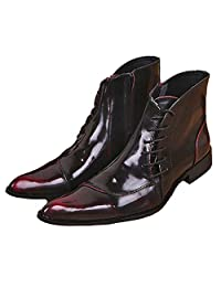 US Size 5-12 Fashion Wine Red Leather Mens Dress Formal Zip Ankle Boots Shoes
