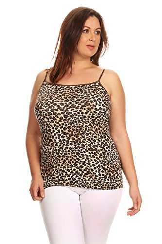 Apparel Leopard (Ambiance Apparel Plus Size Leopard Print Spaghetti Strap Tank Top (1XL))