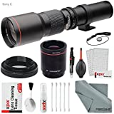 Super-powered 500mm/1000mm f/8.0 Telephoto Lens (Black) with 2X Professional Multiplier for Sony E-Mount Digital Mirrorless Cameras and Deluxe Accessory Bundle with Xpix Cleaning Kit