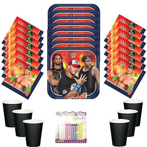 WWE Wrestling Party Supplies Pack Serves 16 Dessert Plates Beverage Napkins and Cups with Birthday Candles