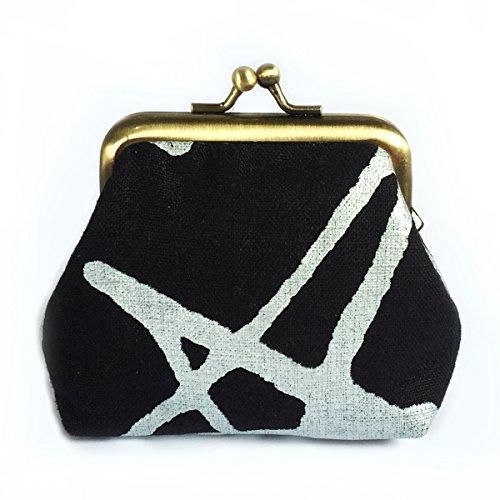 Kisslock Coin Purse, Silver Star on Navy Blue Linen