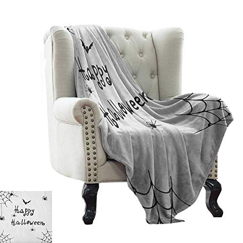 warmfamily Spider Web,Lightweight Blanket,Happy Halloween Celebration Monochrome Hand Drawn Style Creepy Doodle Artwork 70