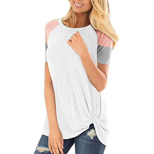 f1797ac70380c IAMUP Womens Fashion Loose Short Sleeve Splice O-Neck Stylish Casual T-Shirt  Blouse