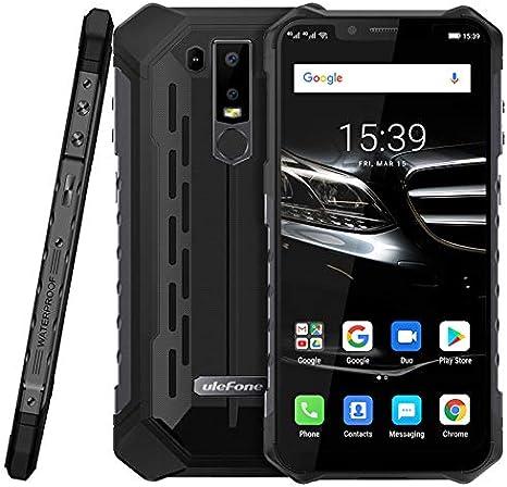 Ulefone Armor 6E Android 9.0 Móvil Anti Agua/antigolpes - Helio P70 Smartphone Resistente al Golpes, Octa-Core 4GB + 64GB, 6.2'' FHD+ Pantalla Notch, Carga inalámbrica, IP68 Impermeable - Negro