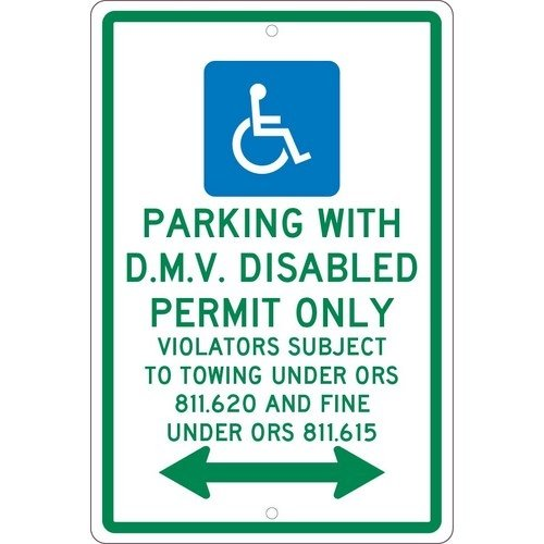 NMC TMS332H, 18''x12'' All Purpose Aluminum Parking with D.M.V. Disabled Permit Only Sign, Pack of 12 pcs