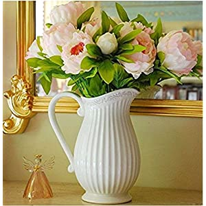 Hilingo 1 Bouquet Fake Peony Artificial Flower Home Wedding Decor Pink (With Free Gift) 3
