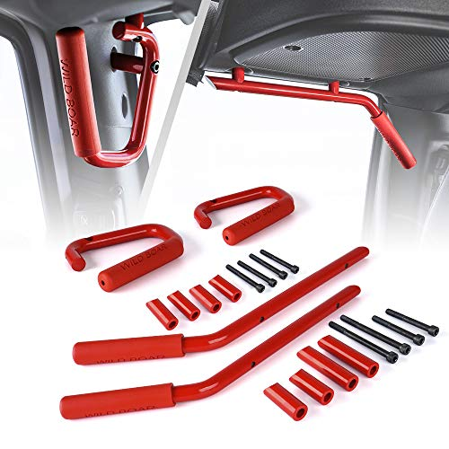 Xprite Front & Rear Red Hard Mount Solid Steel Grab Handle Bar 2007-2018 Jeep Wrangler JK (One Pair)