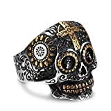 AUMRET Halloween Skull Stainless Steel Simulated Silver Gothic Cross Titanium Steel Ring (11)