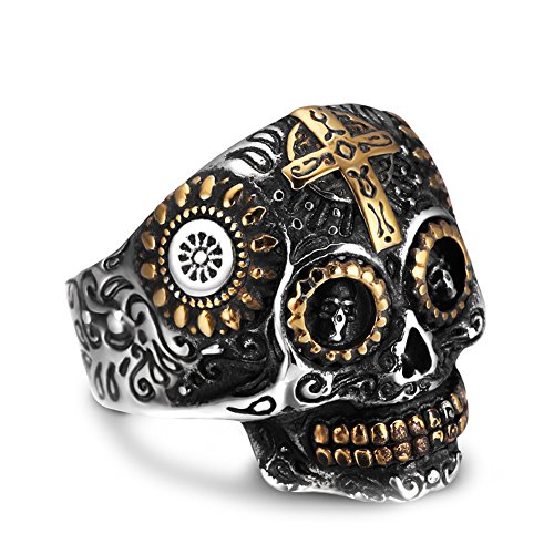AUMRET Halloween Skull Stainless Steel Simulated Silver Gothic Cross Titanium Steel Ring (10)
