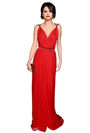 GEORGE BRIDE Sexy V Neck Strap Red Evening Dresses Size 34 Red