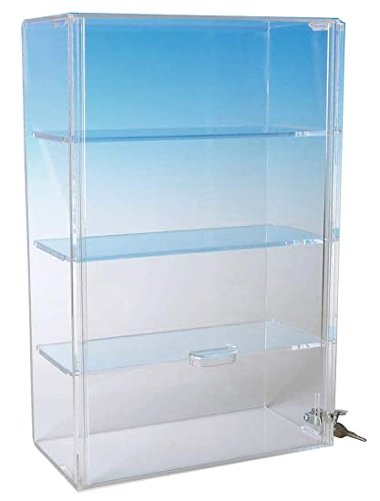 Display Case with Locking Back Door   Acrylic Case (SD173 (w/3 shelves) -  16-1/2H x 16-1/4W x 7D)