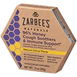 Zarbee's Naturals 96% Honey Cough Soothers and Immune Support with Vitamin C, Zinc, Echinacea, Natural Citrus Flavor, 14 Count