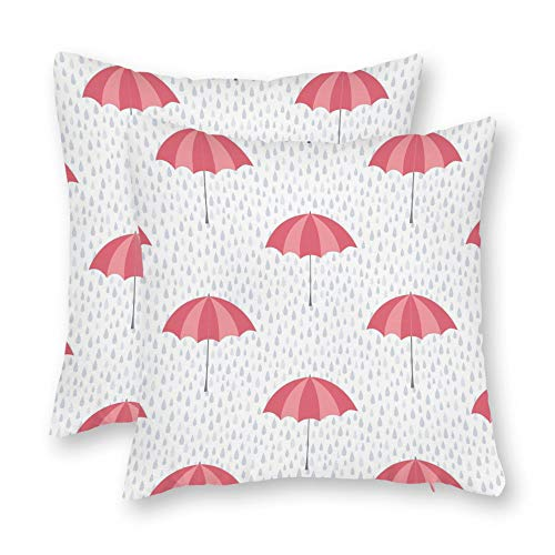 - DKISEE Set of 2 Abstract Umbrella and Rain Pattern Square Throw Pillow Cover Canvas Pillow Case Sofa Couch Chair Cushion Cover for Home Decor