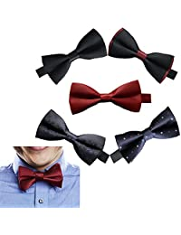 Sept.Filles Men's Tie Clip On Bow Tie Packs of 5 (A)