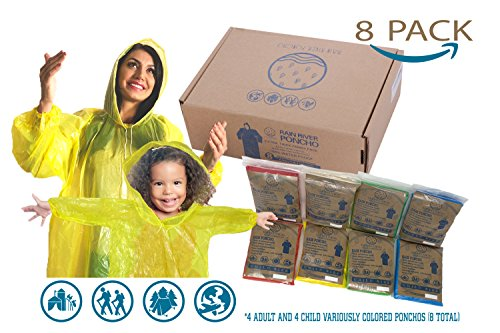 Ponchos Family Pack Rain Poncho - REUSABLE Rain Poncho for Kids Poncho Disposable Disney Poncho for Adults Disposable 8 Rain Poncho Family Pack Pancho by Rain River Poncho