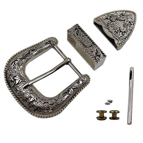 Mens Silver Belt Buckles (TOME Western Cowboy Buckle 38MM Antique Silver Belt Buckle Set 1.1/2