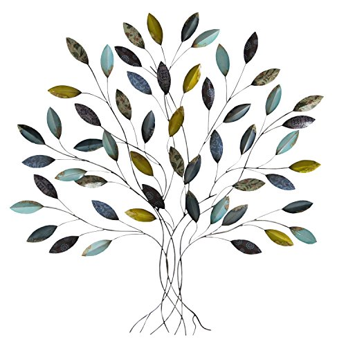Stratton Home Decor SHD0128 Tree Wall Decor, 36.00 W X 1.75 D X 33.00 H, Multi (Tree Hanging Metal Wall)
