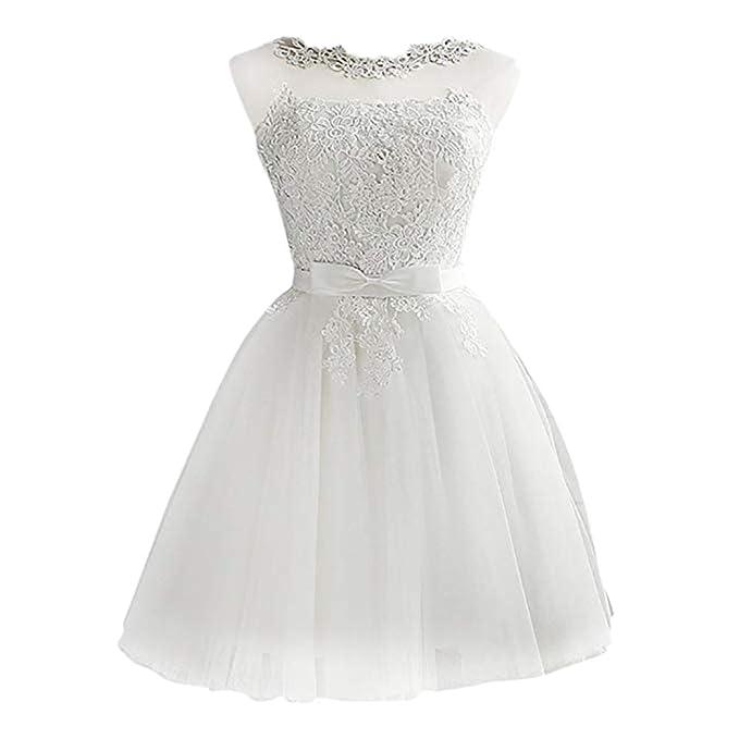 671627d2b Mallalah Mini Vestidos para Mujer Brillo con Encaje Princesa Vestido de  Noche de Tul Vestido de