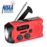Emergency Weather Radio AM/FM/NOAA Solar Crank Radio with Bright Flashlight, SOS Alarm and 2000mAh Power Bank for Emergency and Outdoor Activies
