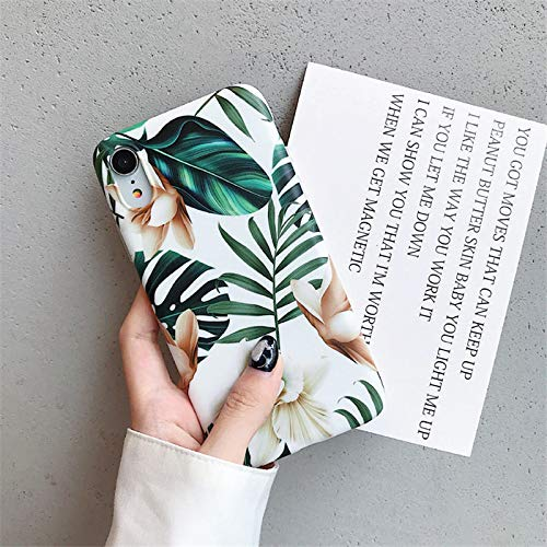 9Guu Art Flowers Leaf Phone Case for iPhone Xs Max Case for iPhone X XR 7 8 Plus Back Cover Fashion IMD Cases Retro Capa (for iPhone 7plus 8plus)