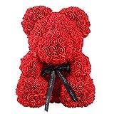 Diamondo Rose Bear Toy Women Girls Flower Birthday Valentine Wedding Party Doll Gift (Red)