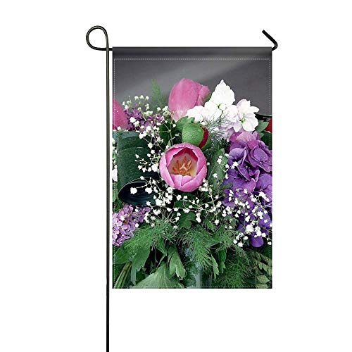 (DongGan Garden Flag Tulips Hydrangea Lilac Peony Gypsophila Flower Spring 12x18 Inches(Without Flagpole))