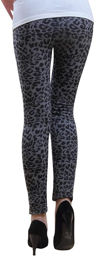 Warme Damen Thermo Leopard Leggings Grau Schwarz Hose Winter Leo Norweger S//M
