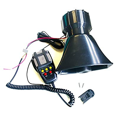 Bestcompu 100W 12V 5 Sound Car Truck Alarm Police Fire Loud Speaker PA Siren Horn Emergency Sound Amplifier MIC System Kit