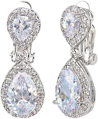 EVER FAITH Wedding Teardrop Earrings Clear Full Cubic Zirconia Silver-Tone