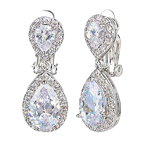 EVER FAITH Wedding Teardrop Earrings Clear Full Cubic Zirconia Silver-Tone Clip-on