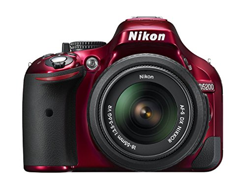 Focus Megapixel Lens - Nikon D5200 CMOS DSLR with 18-55mm f/3.5-5.6 AF-S NIKKOR Zoom Lens (Red) (Certified Refurbished)