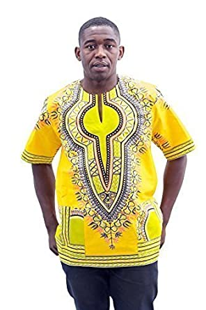 c10c78b0b56 African Dashiki Shirts for Men and Women | Best Traditional Print Pan African  Kente Summer Wear Caftan Dresses for All Occasion (Dash Blk-YEL-Blu): ...