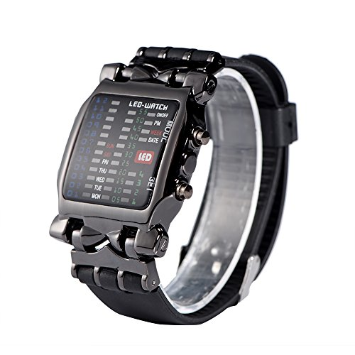Men's Digital Sports Watch, Binary Matrix LED Display Wristwatch with Date