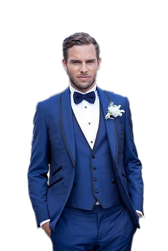 ae89f637f MLT Royal Blue Men Suits Shawl Lapel Wedding Groom Suits Tuxedos Formal (L)  at Amazon Men's Clothing store: