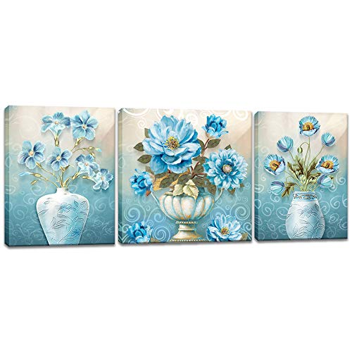 Still Life Floral Paintings - Innopics 3 Piece Elegant Bouquets Canvas Wall Art Blue Flowers in Vases Print Painting Vintage Still Life Floral Artwork Modern Gallery Wrapped Home Decor Framed for Bedroom Living Room Decoration