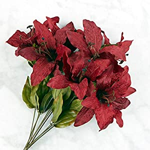 Factory Direct Craft Burgundy Artificial Tiger Lily Bush 85
