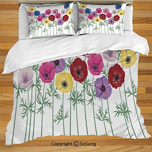 Anemone Flower Queen Size Bedding Duvet Cover Set,Group of Graphic Colorful Flowers on Branches Blooming Field in Summer Theme Decorative Decorative 3 Piece Bedding Set with 2 Pillow Shams,Multicolor
