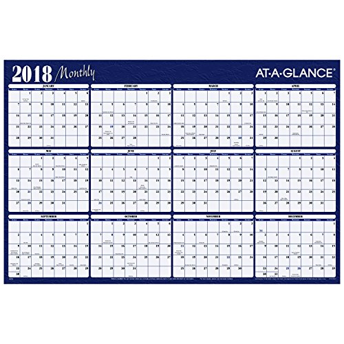 "AT-A-GLANCE Yearly Wall Planner, January 2018 - December 2018, 48"" x 32"", Horizontal, Erasable, Reversible, Red / Blue (A152)"