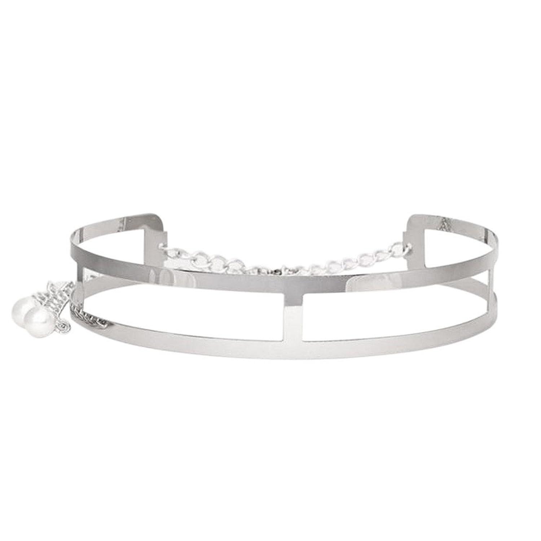 Prettysell Fashion Alloy Buckle Thin Metal Band Belt Chain Accessories Decration