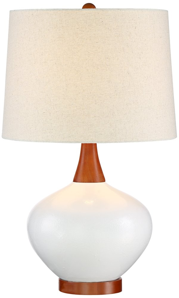 Brice Mid Century Ivory Ceramic Table Lamp Amazon Com