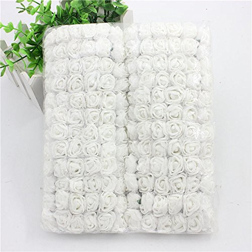 Foam Roses 144pcs Artificial Multi Color Fake Flower DIY Wedding Home Party Decoration & Wedding Car Corsage Decoration (white) ()