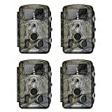 Neewer 4-Pack Hunting Trail Camera Infrared Night Vision, 1080P 12MP HD Infrared 2.4 inches LCD Screen, 120 Degree Wide Angle, Waterproof Dustproof for Wildlife Scouting Surveillance