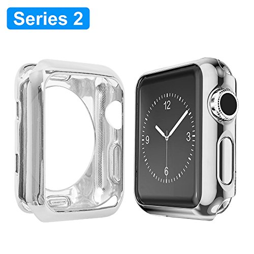 Apple Watch Series 2 Case 42mm, Alritz Plated TPU Protector Slim Anti-scratch Bumper Cover for iWatch Series 2 Series 1, Silver