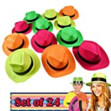 Neon Colored Plastic Gangster Hats 24 Hats Use for Costume Party Favor, Carnival and Birthday Party, Party Picture, Perfect Fit for Older Teen Kids, Add to Your Party Decoration, Bright Colors