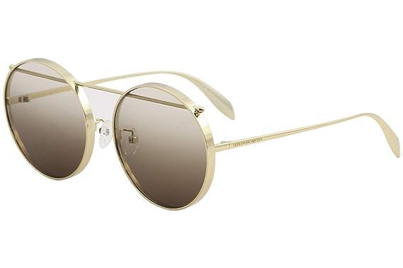 29b16fe5b1c Alexander McQueen Edge AM0137SA AM 0137 SA 001 Gold Round Sunglasses ...
